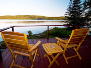 Killarney Lodge - Private deck overlooking the Lake of Two Rivers