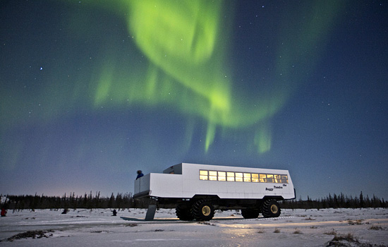 Watching the northern lights from the Tundra Buggy