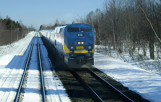 VIA Rail train passes through the desolate Canadian winter enroute to Hudson Bay
