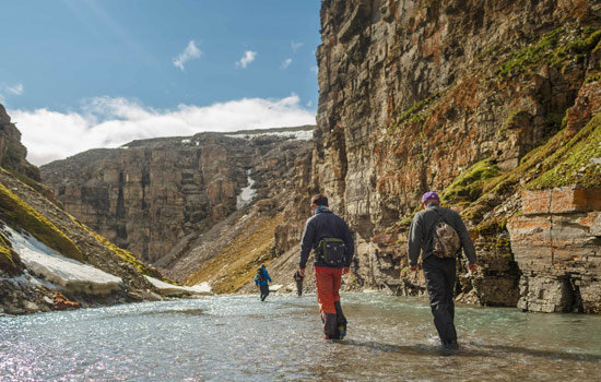 Exploring the arctic region on a guided hike