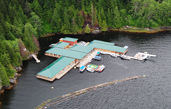 Knight Inlet Lodge in Campbell River from above showing the waterside property and surrounding wilderness
