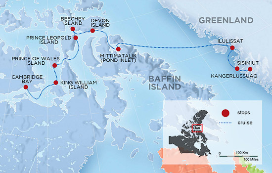 Northwest Passage and Greenland Expedition Cruise  – Map