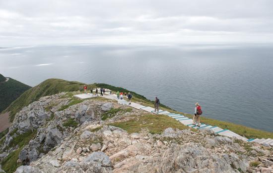 Visitors explore the Skyline trail
