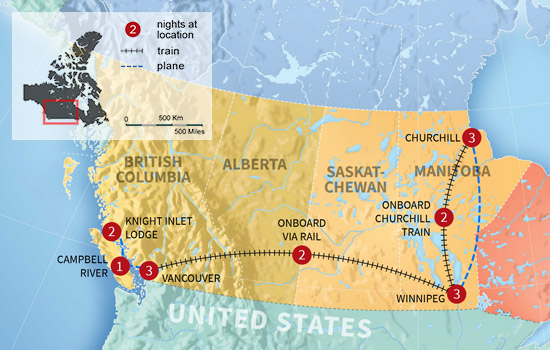 Discover the Bears of Canada by Train - Map
